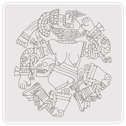monochrome icon with Coyolxauhqui aztec goddess of the moon