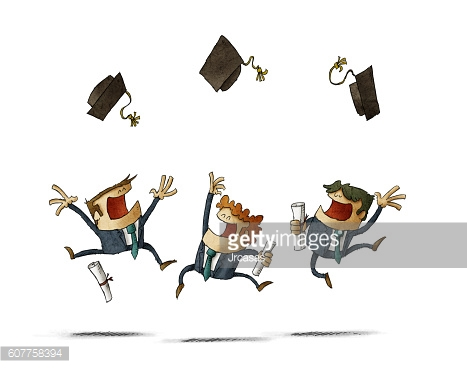 Cheerful alumni jumping with their cap in the air
