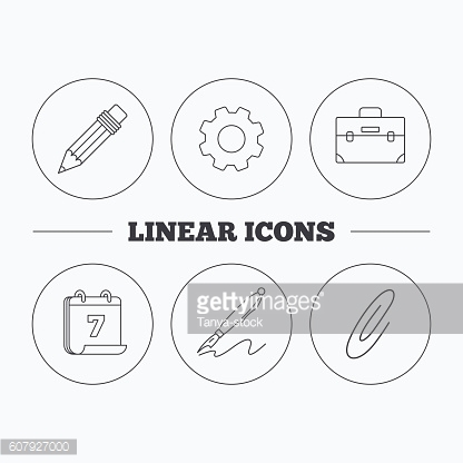 Briefcase, pencil and safety pin icons.