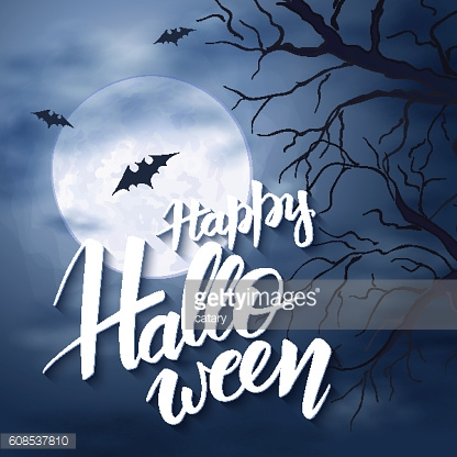 halloween poster with lettering label on night sky with fullmoon