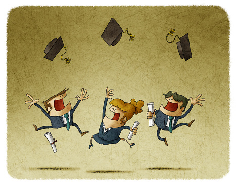 graduate students jumping with their cap in the air