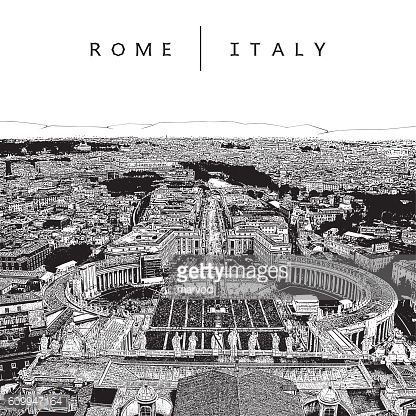 Famous panoramic view of Rome, Italy.