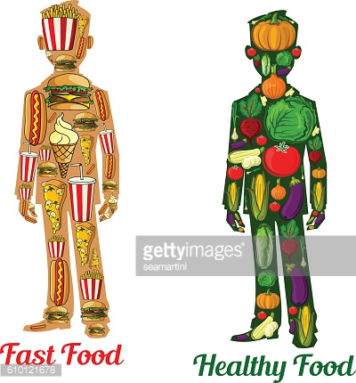 Healthy diet nutrition and fast food. Human icons