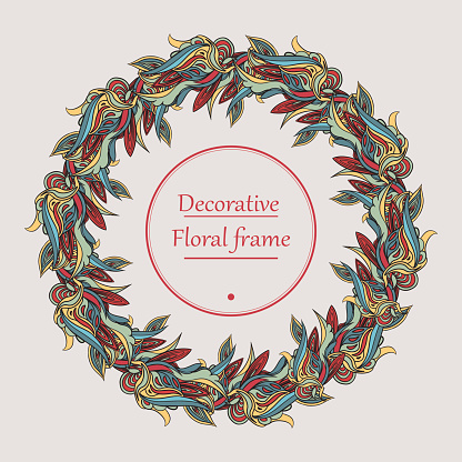 Vector Wreath. Floral frame. Round border with flowers and leaves.