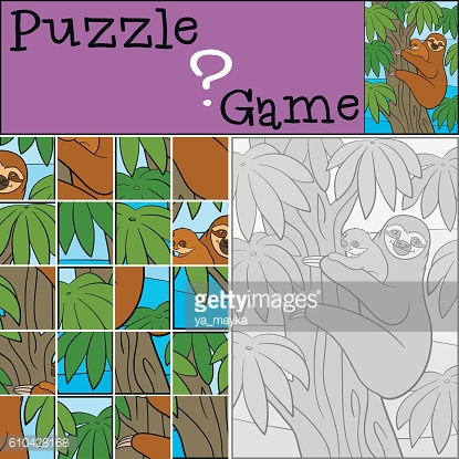 Education game: Puzzle. Mother sloth with her little cute baby.