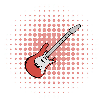 Red electric guitar comics icon