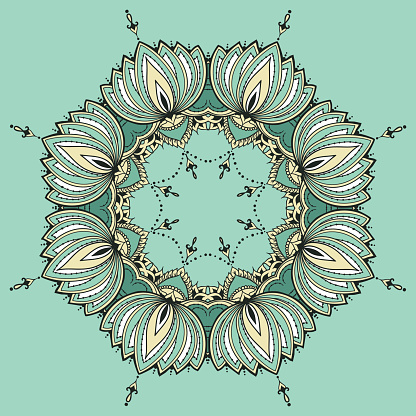 Hand-drawn lotus in east style arranged in a circle