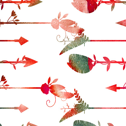 Watercolor seamless pattern. Arrows and feathers.