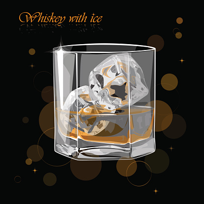 Whiskey With Vector Illustration Of A Glass Of Stock Photos