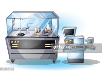 cartoon vector illustration laboratory interior room with separated layers