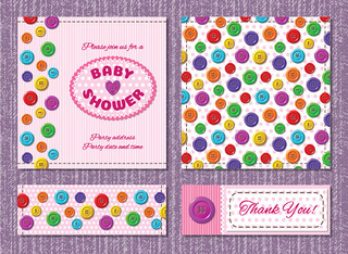 Vector cards for baby shower party with buttons