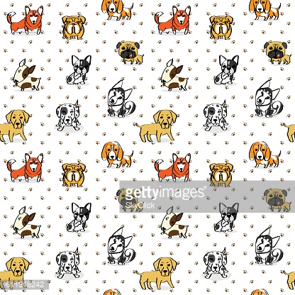 Dogs Pattern Seamless Background, The little puppy