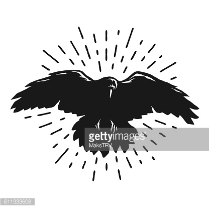 Flying crow silhouette.