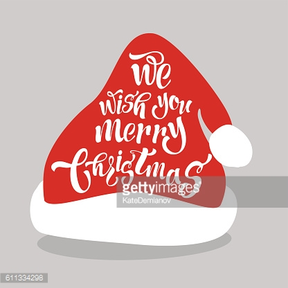 We wish  merry Christmas. Lettering Design on the Santa hat.