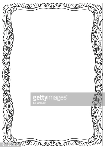 Decorative abstract square coloring page frame isolated on white