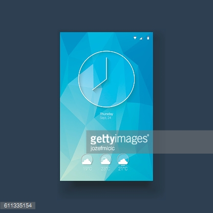 Clock and weather forecast icons mobile ui on blue low