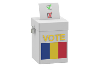 voting concept. Ballot box with flag of Romania, 3D rendering