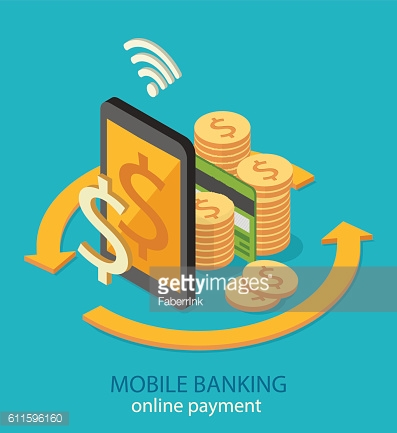 Flat isometric mobile online payment concept web infographics vector illustration