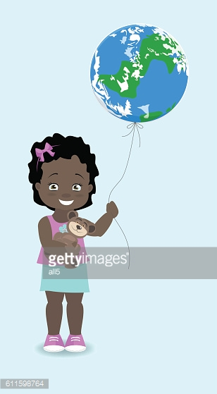 Girl African, American holds the Earth, like a balloon. Vector