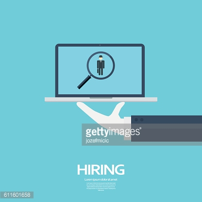 Search for job symbol with magnifying glass in modern flat