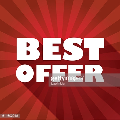 Sale discounts poster or flyer,  white text on red background