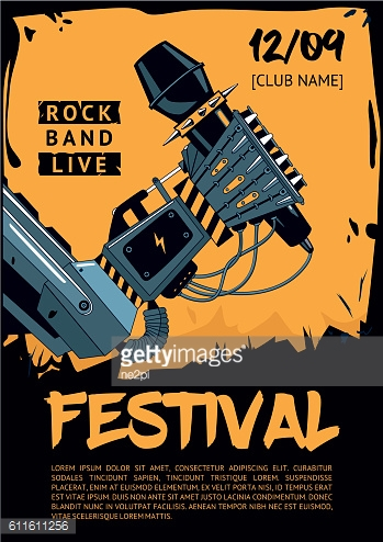 Music poster template for rock concert. Robot is holding microphone.