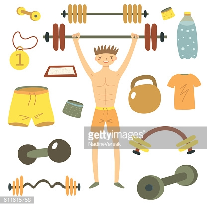 Hand drawn flat style man holding barbell