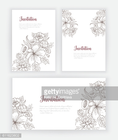 Invitation card with hand drawn flowers