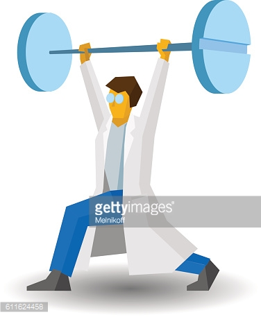 Doctor raises a bar with tablets. Medicine concept. Vector image