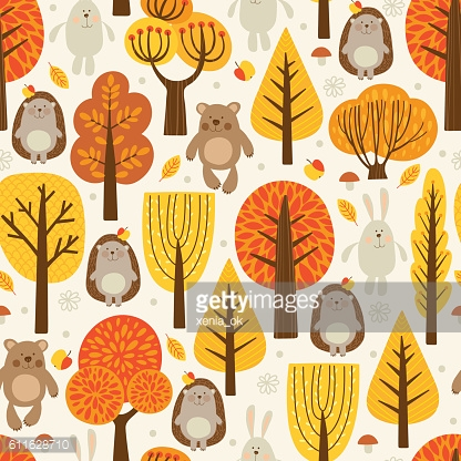 pattern with animals in the forest