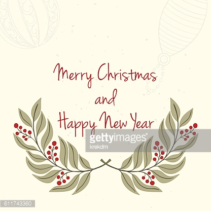 Hand drawn Christmas and New Year invitation card.