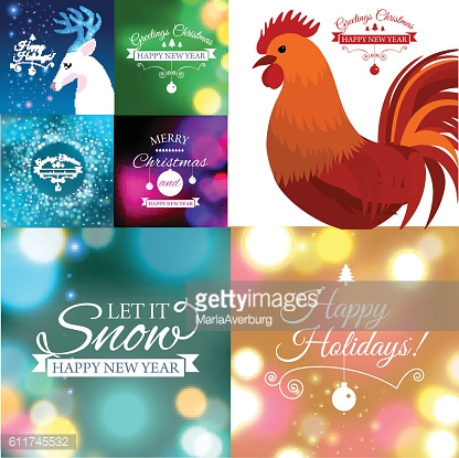Set of Merry Christmas postcard with designed text. Vector illustration.