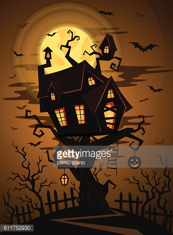 Halloween party background with castle silhouette