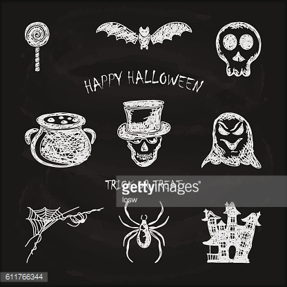 Set of sketches Halloween icons on black chalkboard