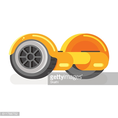 Vector flat style illustration of two-wheeled battery-powered electric vehicle