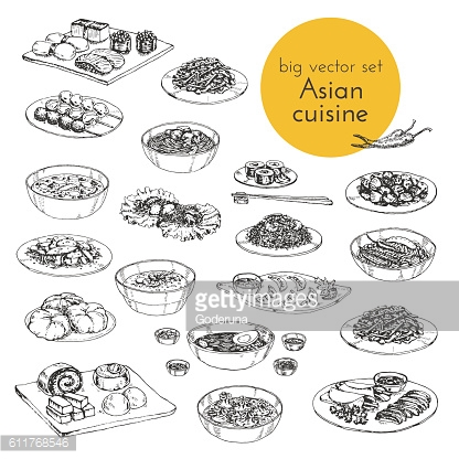 Vector hand drawn illustration of Asian dishes