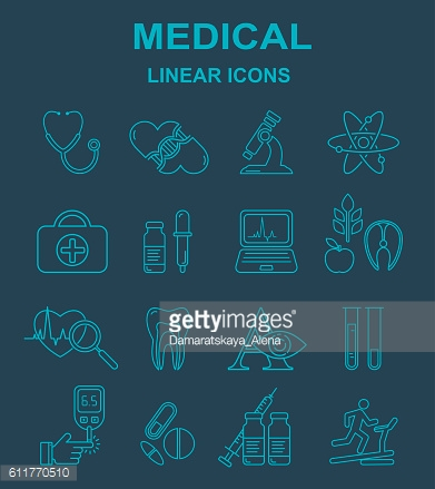 Medicine and health vector  line style icons