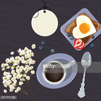 Breakfast view from above. Vector illustration of cup of coffee