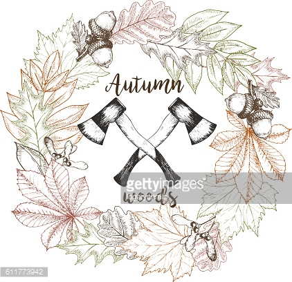 Vector hand drawn wreath of leaves and two crossed axes.