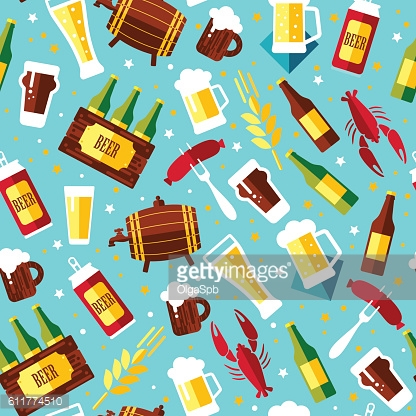 Seamless pattern with beer symbols on blue background. Vector il
