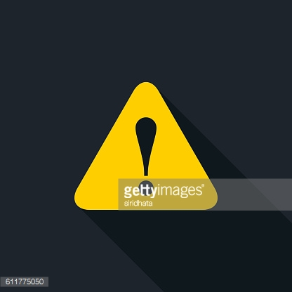 Caution or Warning Flat Long Shadow Icon