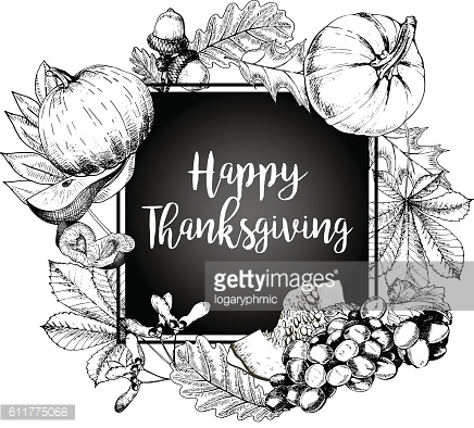 Vector border greeting card for Thanksgiving. Hand drawn vintage illustration.