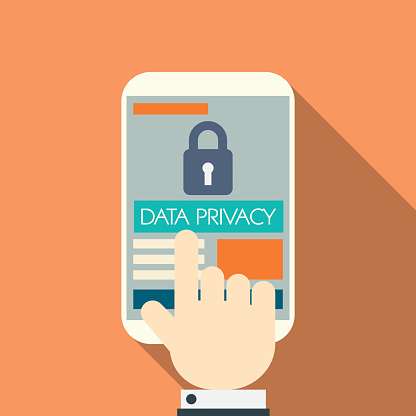 Data privacy in cloud computing technology with digital devices icons