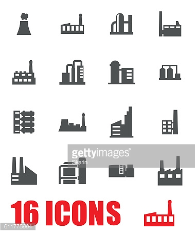 Vector grey factory icon set on white background