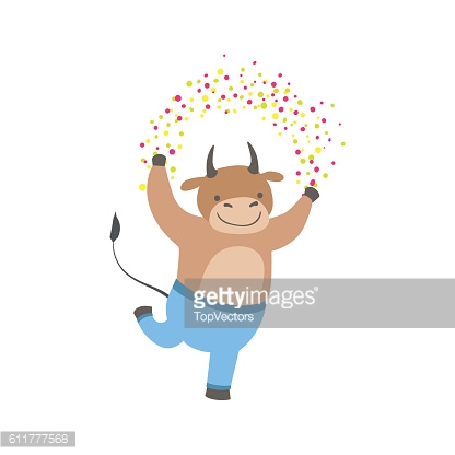 Bull Cute Animal Character Attending Birthday Party
