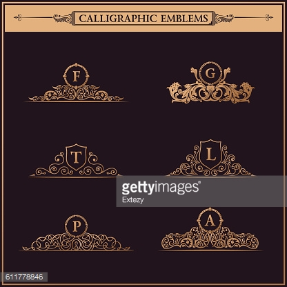 Vintage Decorative gold Elements Flourishes Calligraphic Ornament set