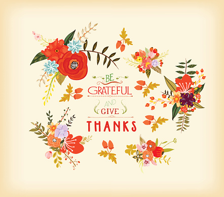 Thanksgiving hand drawn floral lettering card