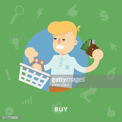 Man with a shopping basket and purse