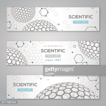 Horizontal Banners Set with Abstract Molecules