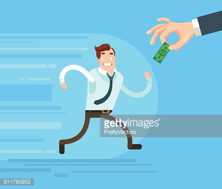 Businessman character runs trying catch salary